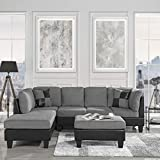 Casa Andrea Milano 3 Piece Modern Microfiber Faux Leather Sectional Sofa w/Ottoman