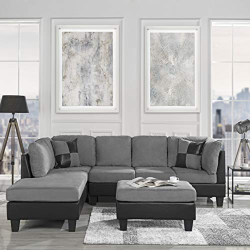 3-Piece Modern Reversible Microfiber / Faux Leather Sectional Sofa Set w/ Ottoman (Grey) (Sectionals Microsuede)