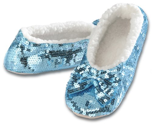 snoozies! Ballerina Bling Metallic Shine Womens Cozy Sequin Slippers