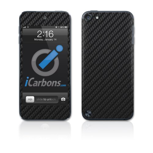 Carbon Fiber Ipod Touch Case - iCarbons Black Carbon Fiber Vinyl Skin for iPod Touch 5th Gen 32GB/64GB Full Combo