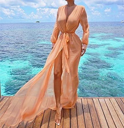 2a06946efe607 Amazon.com  Autumn Water Beach Cover ups Tunic Pareos Swimwear Women 2018  Bikini long sleeve Bandage Cardigan cover up Chiffon Swimsuits Beach Swim  Wear  ...