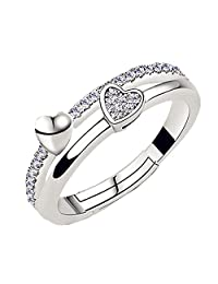 S925 Sterling Silver CZ Single row drilling Diamonds Double Heart Women Open Band Ring,adjustable