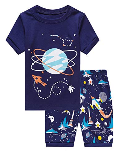 Family Feeling Little Boys Space Pajamas Short Sets 100% Cotton Toddler Kid 2T