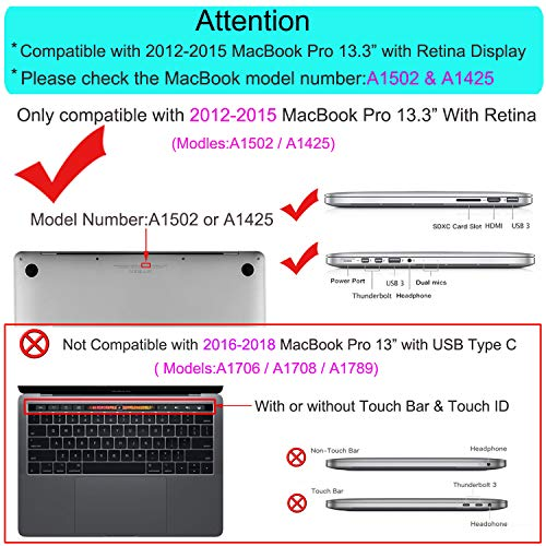 MOSISO Case Only Compatible with Older Version MacBook Pro Retina 13 inch (Models: A1502 & A1425) (Release 2015 - end 2012), Plastic Hard Shell & Keyboard Cover & Screen Protector, Black