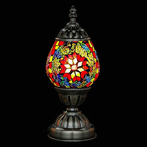 Mosaic Bedside Table Lamp Marrakech Turkish Mosaic Glass Egg Lamp Moroccan Lantern Desk Table Night Lamp Light with Bronze - Table Lamp Mosaic Purple