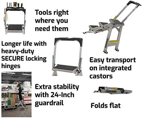 Louisville ladder 2-Foot Step Stool, 300-Pound Capacity L-2011-02 Stocking stepstool, 2-feet, Silver
