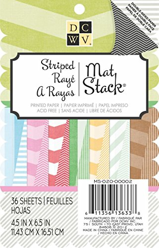 DCWV Double Sided Printed Stack, 4-1/2 by 6-1/2-inches, Stripes