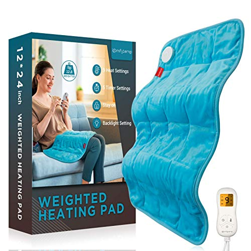 "Weighted Heating Pad, Comfytemp 12x 24"" Electric Heating Pad for Back Pain Relief with 9 Heat Settings 