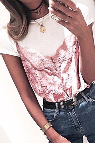 Mujeres sin mangas V-cuello chaleco de terciopelo Camiseta Pink