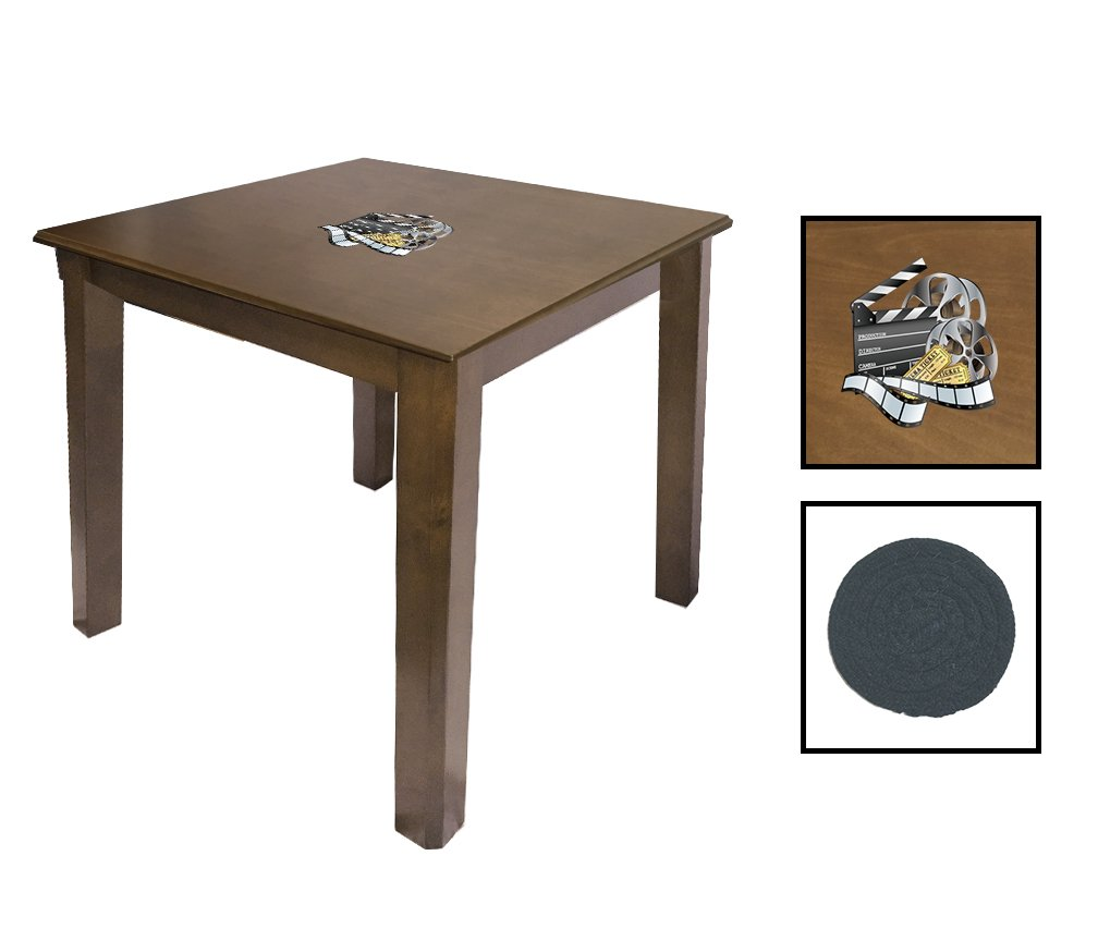 Walnut Finish End Table Featuring the Choice of Your Favorite Novelty Theme Logo - FREE Coaster Included! (Movie Reel)