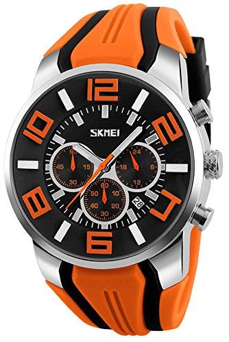 - Mens Big Face Watch Unique Fashion Colorful Analog Quartz Chronograph Sports Wristwatches Orange