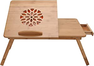 MorNon Laptop Desk for Bed Sofa Adjustable Multifunctional Table with Tilting Top Storage Drawer, Notebook Cooling Fan, Breakfast Serving Tray with Folding Legs, 100% Bamboo Nature