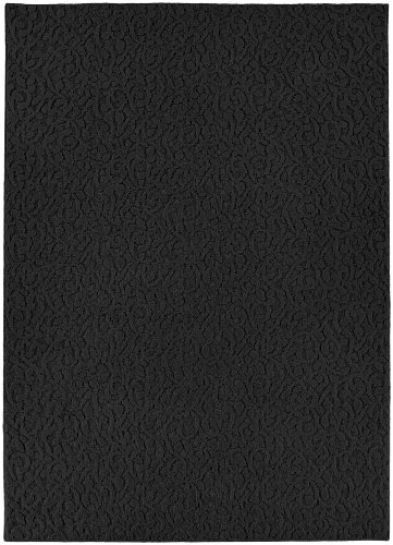 Garland Rug Ivy Area Rug, 6-Feet by 9-Feet, Black (Solid Black Area Rug)