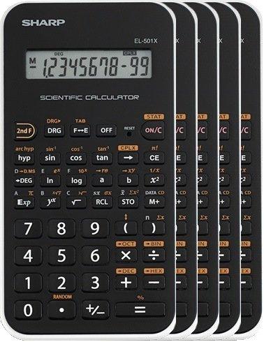 Sharp EL-501XBWH Scientific Calculator 5 Pack (Calculator Hexadecimal)