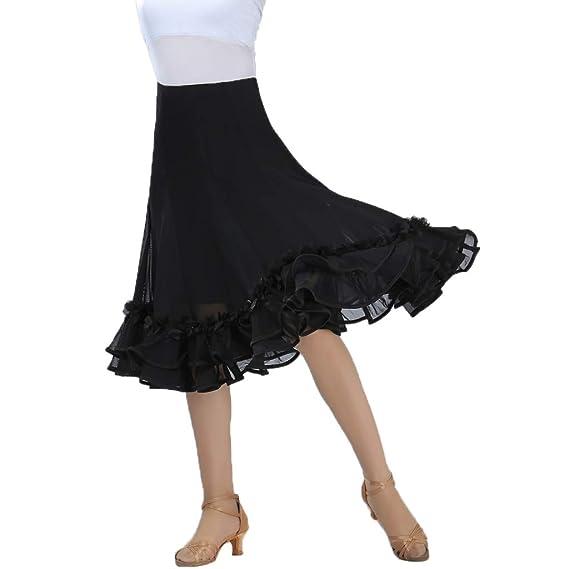 IPOTCH Falda de Mujer Volante con Flores 3D Cintura Alta para ...