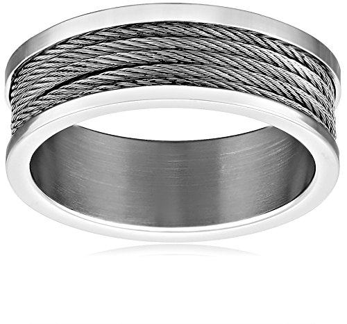 Men's Stainless Steel 7.5mm Twisted-Cable Plain Wedding Band