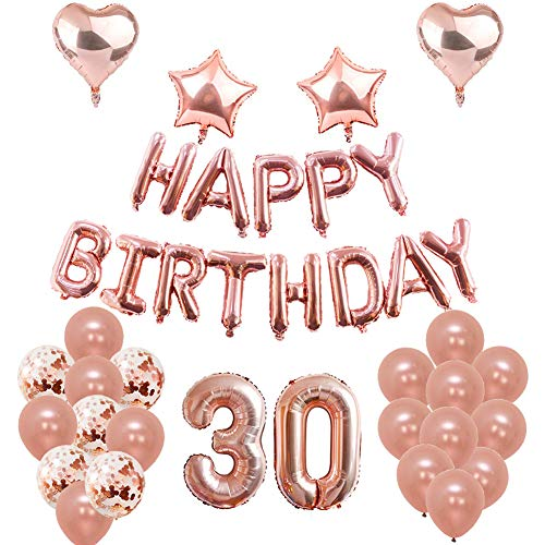 30th Birthday Balloons, Puchod Birthday Decorations Party Supplies Set Rose Gold 30 Foil Confetti Latex Balloons for Women -