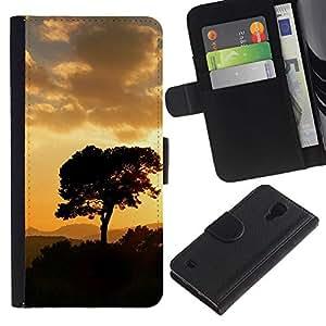 Be Good Phone Accessory // Caso del tirón Billetera de Cuero Titular de la tarjeta Carcasa Funda de Protección para Samsung Galaxy S4 IV I9500 // Sunset Tree Beautiful Nature 5