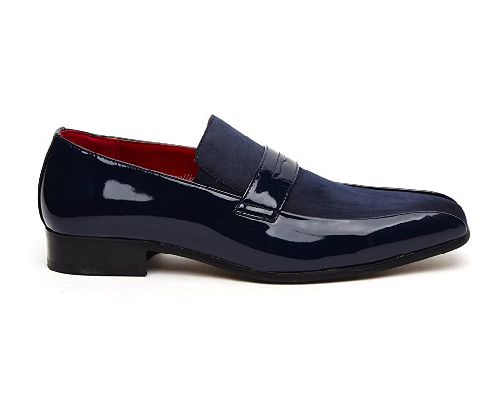 Rossellini Monzese Mens Shoes Blue Faux Shiny Leather  Moccasin Loafer for party