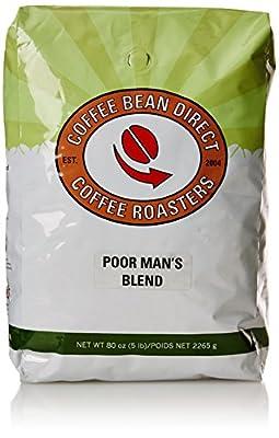 Coffee Bean Direct Poor Man's Blend, Whole Bean Coffee, 5-Pound Bag