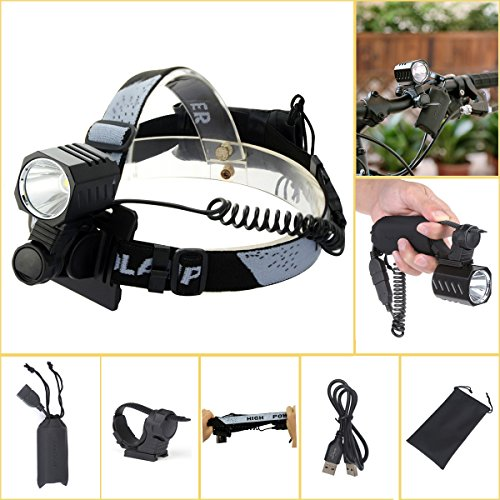 Welltop LED Headlamps 4 Modes Bicycle Light Work Lights Headlight Flashlight Helmet Light with Rechargeable Battery Pack (Square head)