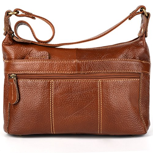YALUXE Women's Cowhide Leather Mini Size Small Crossbody Shoulder Bag Vintage Style (Brown Leather Organizer)