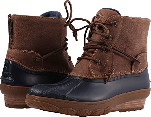 Sider Sperry Tie Top Leather (Sperry Top-Sider Women's Saltwater Wedge Tide Rain Boot, Navy/Tan, 5.5 Medium US)
