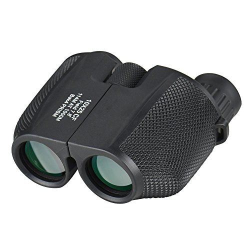 Minidiva Portable Binoculars Telescope (10x25) Waterproof Compact Folding Mini Scope HD BAK4 Prism for Adults and Kids, Hunting, Camping, Sport and All Outdoor Events (Black) by Minidiva