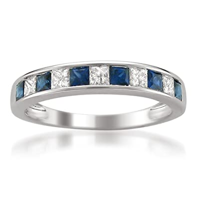 14k White Gold Princess cut Diamond and Blue Sapphire Wedding Band