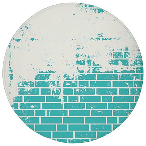 ,Turquoise,Plastered Brick Wall Aged Masonry Vintage Construction Stylized Modern Art Print,Blue White,Flannel Microfiber Non-slip Soft Absorbent,for Kitchen Floor Bathroom ()