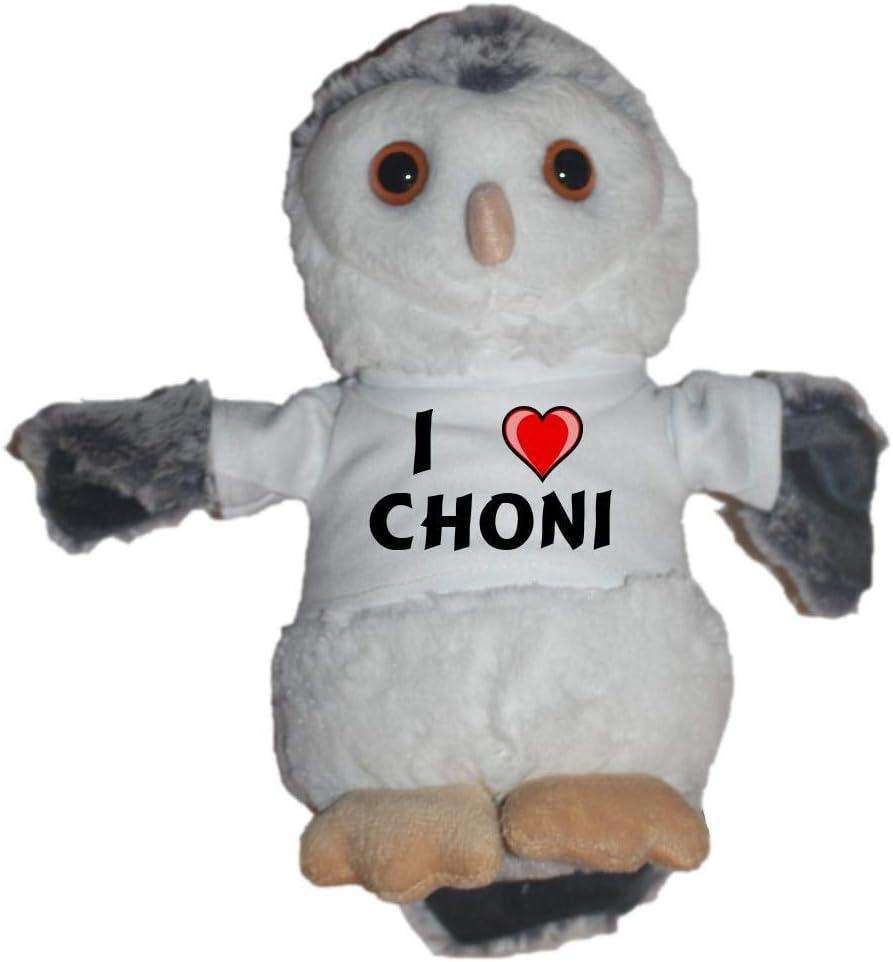 Búho de peluche con Amo Choni en la camiseta (nombre de pila ...
