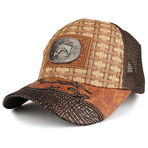 Trendy Apparel Shop Straw Design Metallic Horse Logo Badge Trucker Mesh Adjustable Baseball Cap - Dark TAN -