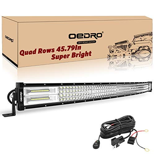 LED Light Bar Curved with Wiring Harness Quad-Row 42In 1128W oEdRo Spot Flood Combo Led Lights Work Lights Fog Driving Light Off Road Light 12/24V Fit for Pickup Jeep SUV 4WD 4X4 ATV UTE TruckTractor (42 Led Light Bar)