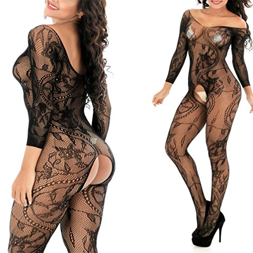 MMkiss Women's Sexy Lingerie Fishnet Floral Lace Crotchless Bodystckings Babydoll Bodysuits One (Lace Womens Fishnets)