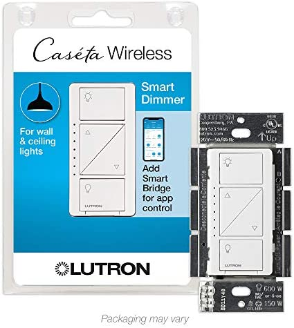 Lutron Caseta Smart Home Dimmer Switch, Works with Alexa, Apple HomeEquipment, and the Google Assistant | for LED Light Bulbs, Incandescent Bulbs and Halogen Bulbs | PD-6WCL-WH | White
