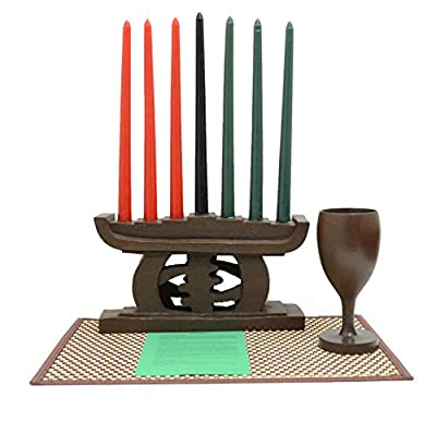 African Heritage Collection Kwanzaa Gye Nyame Candleholder & Celebration Set (Brown) - Handmade in Ghana