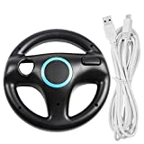 Steering Wheel for Wii U and Wii with Charging Cable, AFUNTA Racing Wheel Case for Mario Kart 8 Games, with 10ft USB Charger Cord - Black, White