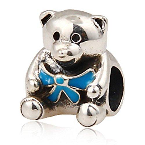 Choruslove Boy Bear European Charm Bead with Blue Enamel Bow for Kid Toy Doll (Lg Pet Toy)