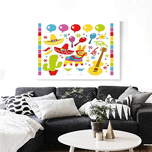 Fiesta Wall Art Canvas Prints Mexican Party Pattern Cactus Sombrero Musical Items and a Pinata Ethnic Inspirations Ready to Hang for Home Decorations Wall Decor 28