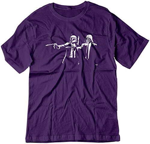 BSW Men's Star Wars Pulp Fiction Darth Vader Boba Fett Shirt Med Purple