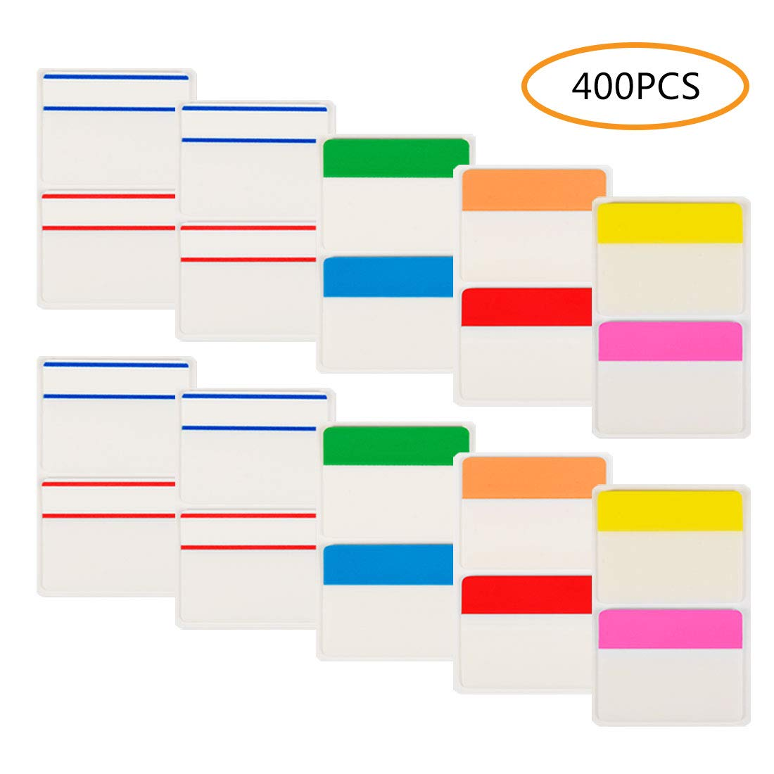 Sticky Index Tabs, 400Pcs Colored Page Marker Flag Tabs, 10 Set of 8 Colors by HappyHapi