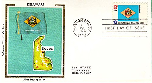 United States Scott 1633-1682 13c American Bicentennial State Flags 1976 Washington, DC 20013 Set of 50 Colorano Silk Cachets. Unaddressed First Day Cover.