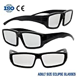 Plastic Solar Eclipse Glasses /w Carry Case | Adult Size | Cool Style and Look | CE and ISO Tested | Safe Solar Viewing – 3 Pack (3 Glasses and 3 Cases)