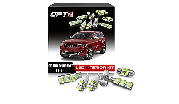 opt7 10pc conjunto de repuesto de bombilla LED de luz interior bombillas para 11 - 14 Jeep Grand Cherokee: Amazon.es: Coche y moto