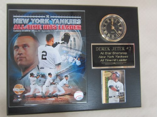 Derek Jeter LIMITED EDITION Yankees Hit King Collectors Clock Plaque w/8x10 Photo and Card