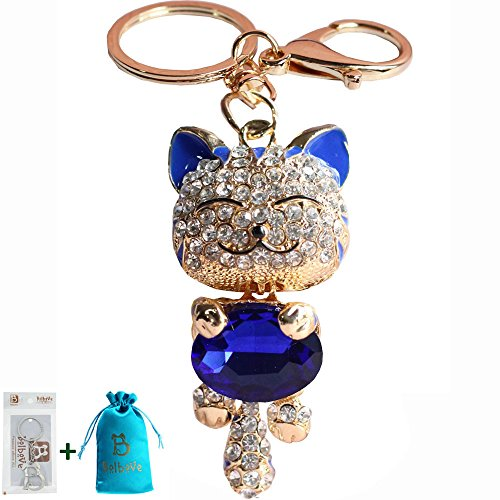 Kitten Cat Purse - Bro'Bear Cute Kitten Sparkling Keychain Blingbling Crystal Rhinestone Handbag Charm for Cat Animal Lovers Diamond Kitty Key Ring/Chain Holder Purse Car Hanging Pendant Decoration Gift (Blue)