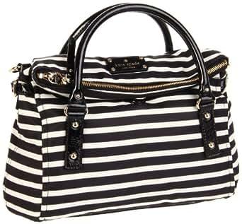 kate spade new york Nylon Small Leslie Satchel Handbag (One Size, Black/Cream Stripe)