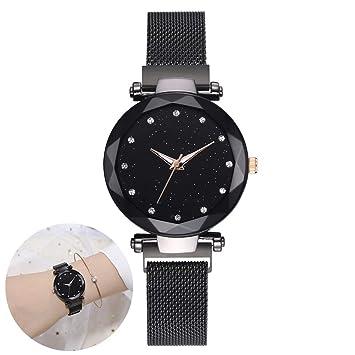 Wudi Relojes de Lujo Diamantes de imitación Reloj de Pulsera de Cuarzo magnético simulado para Ver el Cielo Estrellado del Diamante Negro ...