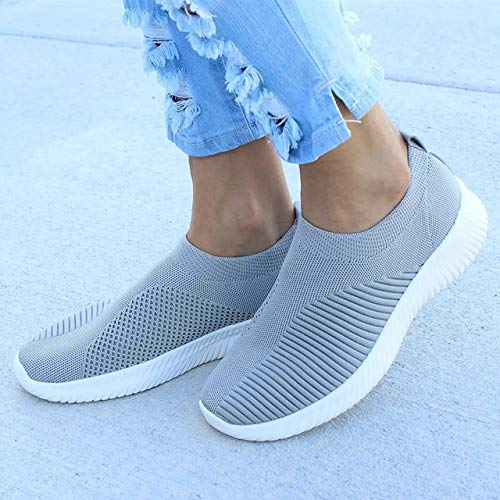 - LINH MIU Women Shoes Knitting Sock Sneakers Women Spring Summer Slip On Flat Shoes Women Plus Size Loafers Flats Walking krasovki Famela Grey