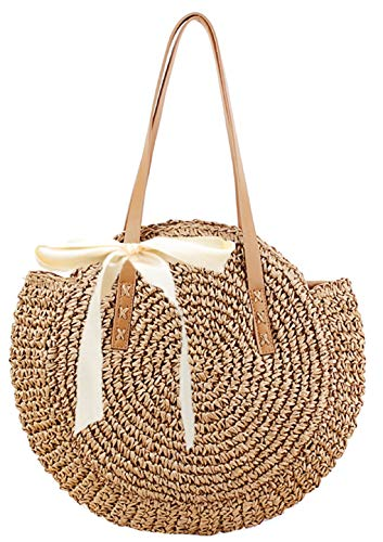 Straw Handbags Women Handwoven Round Corn Straw Bags Natural Chic Hand Large Summer Beach Tote Woven Handle Shoulder Bag (Khaki)